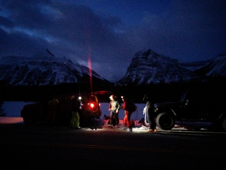 Gearing up at the cars before the Athabasca river crossing