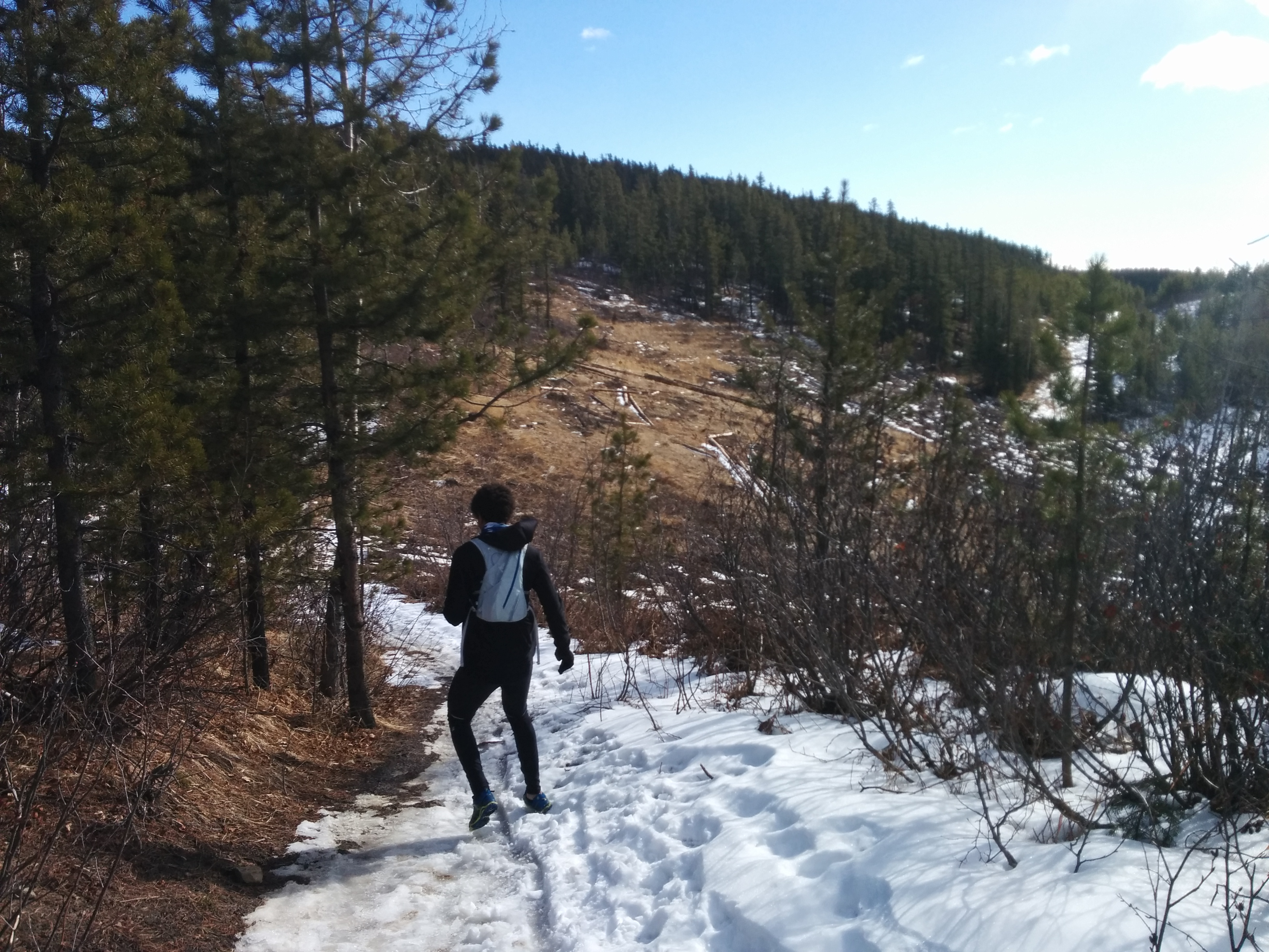 Eddy and I running around Bragg Creek at the beginning of March