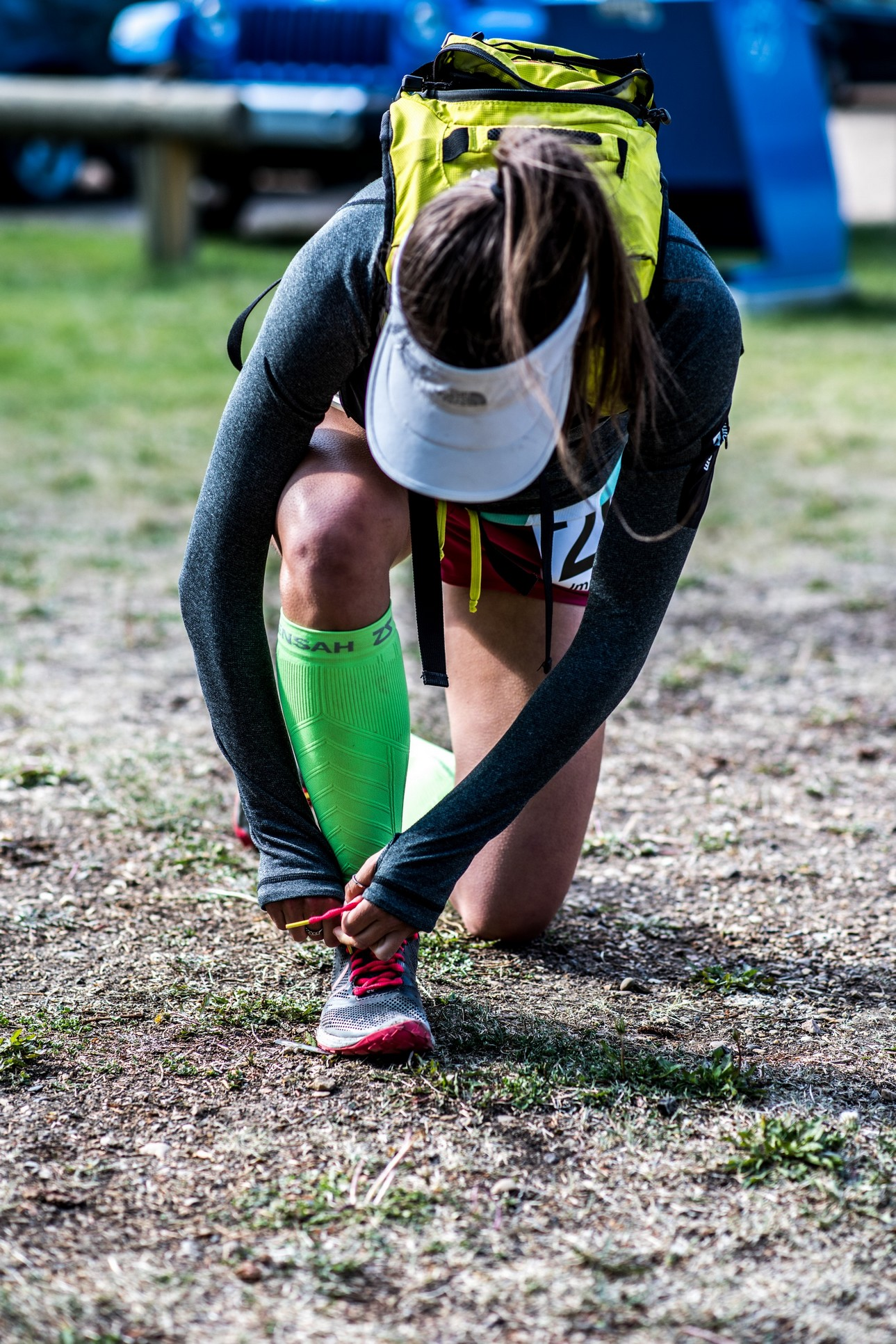 Tying the timing strips to my shoes pre-race. Image by IG: @irrationalcarny
