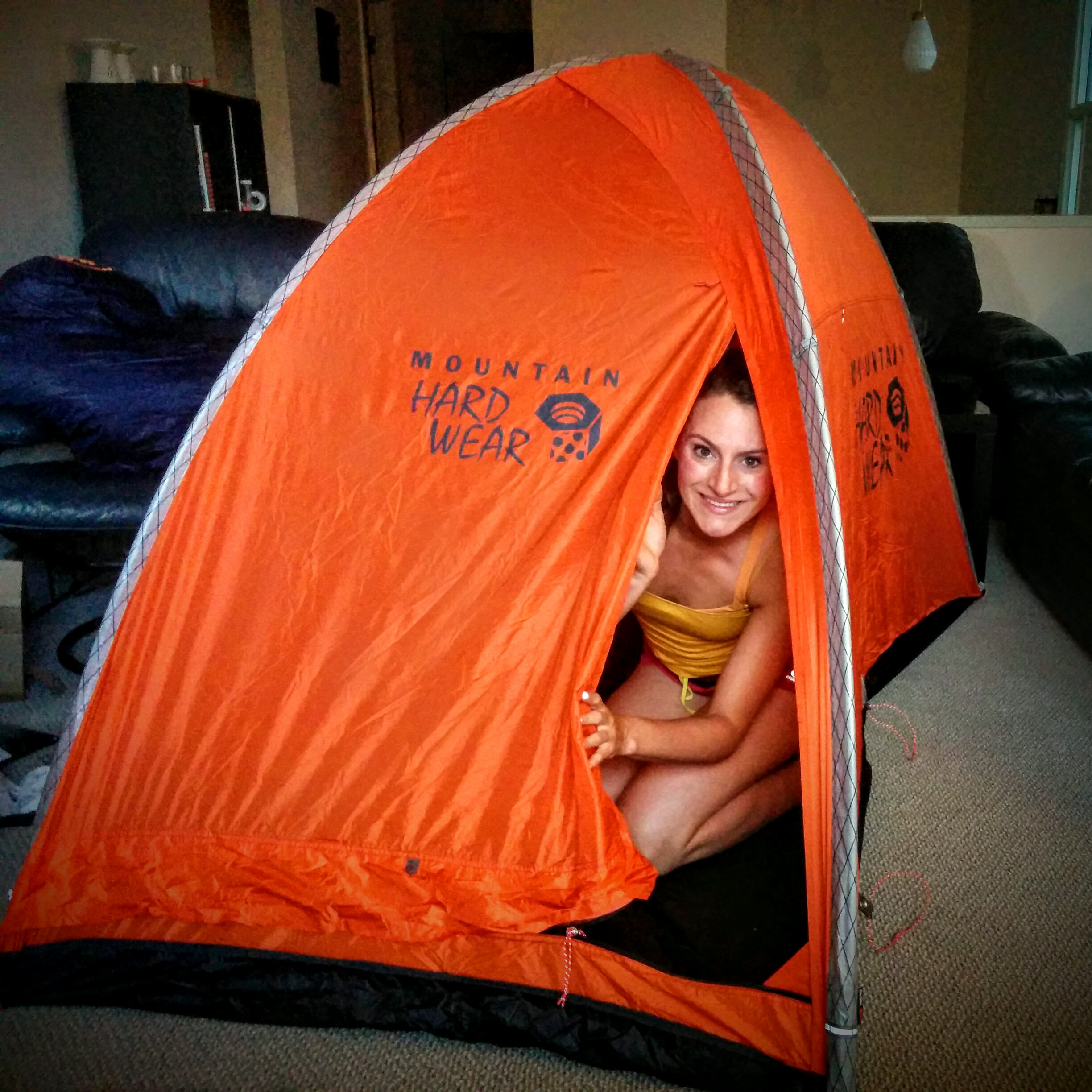 Yep das me in my tent! The Mountain Hardwear Direkt 2.