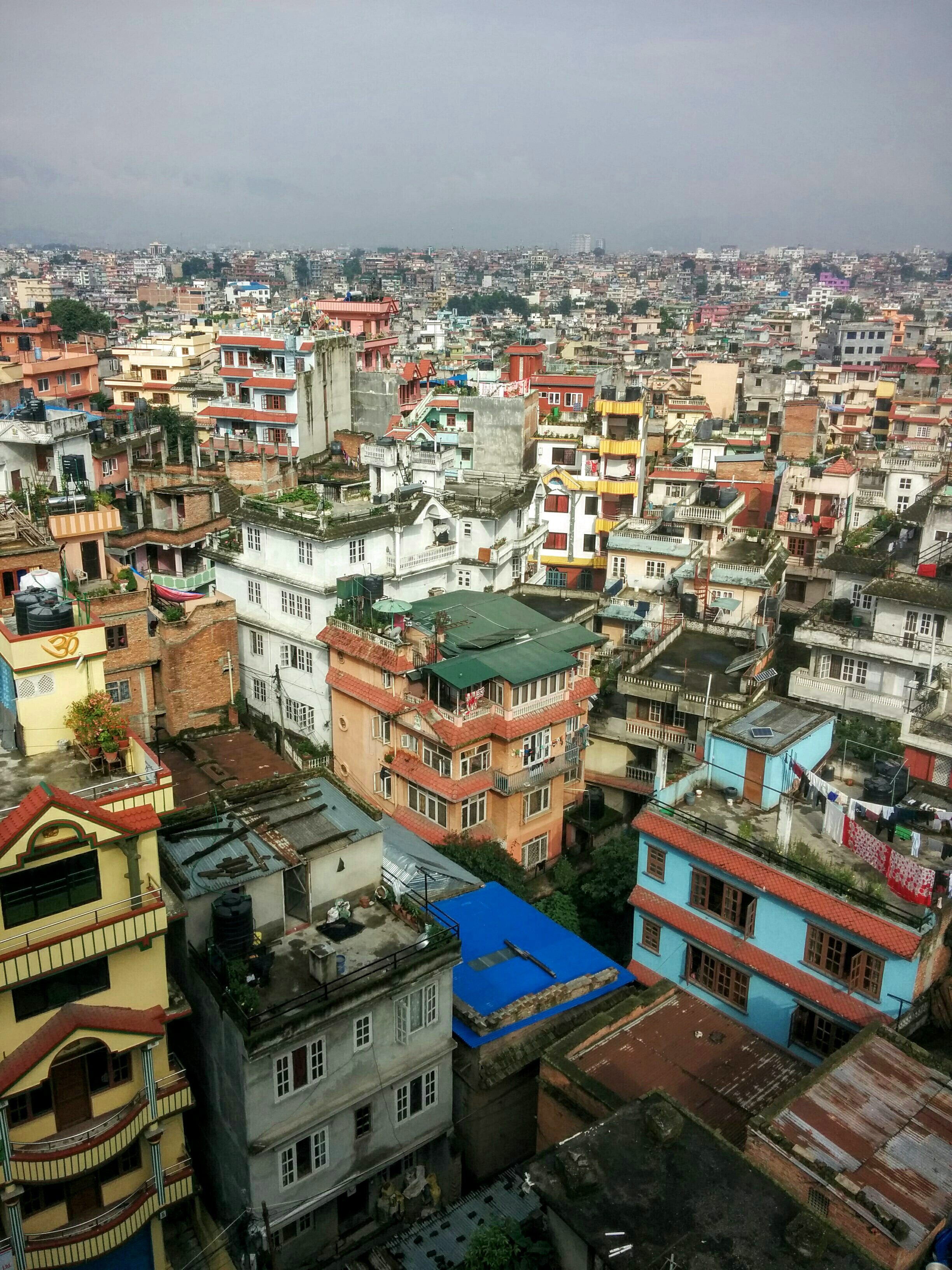 A view from the roof of my hotel on my first morning in Kathmandu.