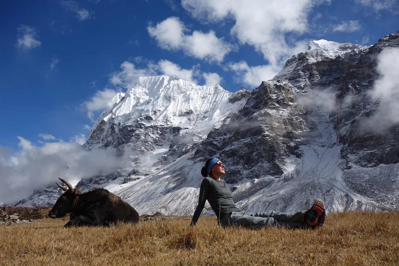 Basking in the sun in Lhonak with a yak.