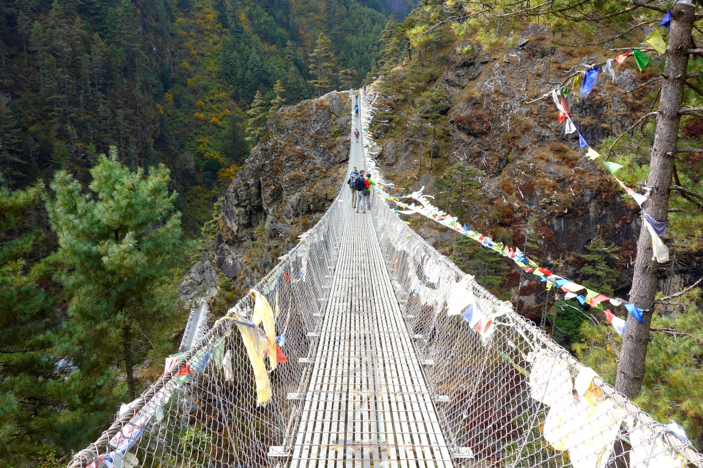 One of the many river crossings on a suspension bridge