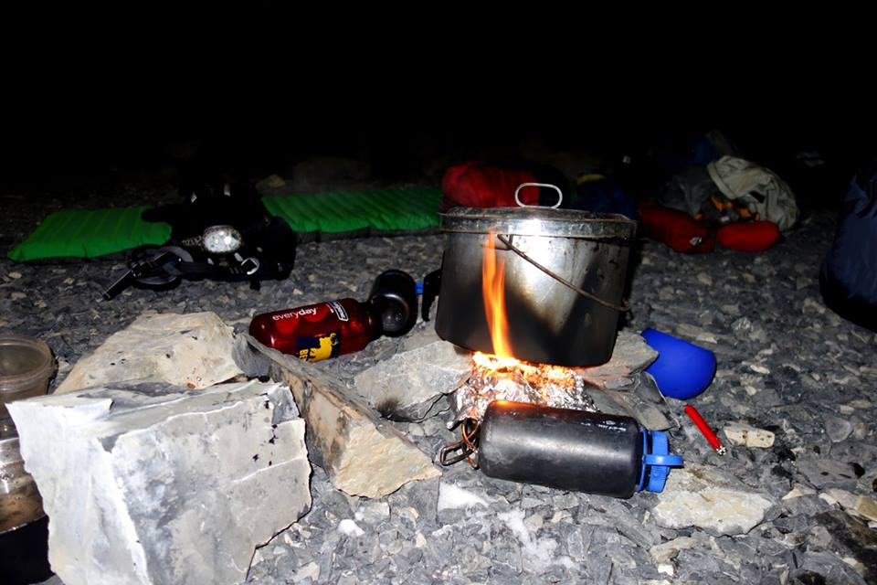 The camp stove wasn't working so we had to jerry rig a way to burn fuel using tinfoil and a pot.