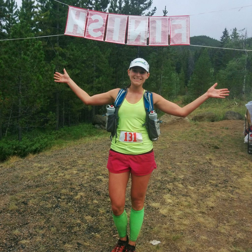 At the finish line of the HURL Elkhorn 50k race.
